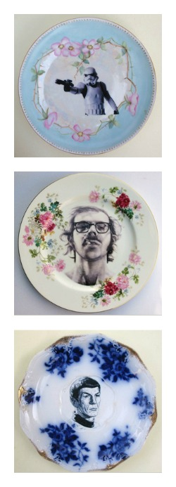 Altered china dinnerware - Star Wars or Star Trek or Loverboy - do-it-yourself art